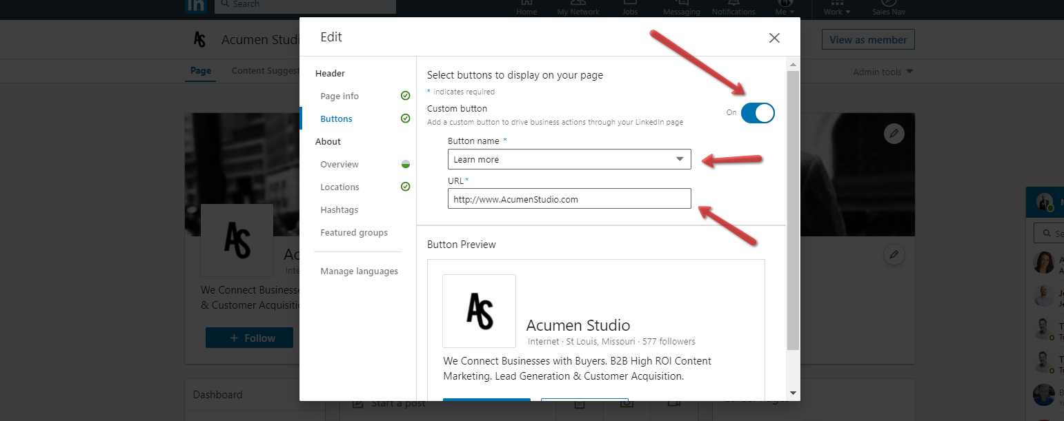 Acumen_Studio_LinkedIn_Company_Page_Profile_Button_Settings